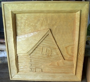 Deep Relief woodCarvings      Log Cabin in Clear Pine