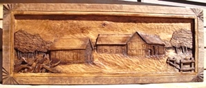 Farmstead, A Hand Carved Deep Relief woodcarving