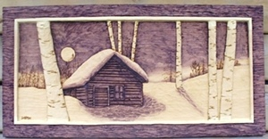 Woodcarvings  Rustic Cabin, deep relief