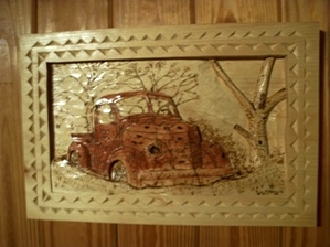 Relief carving of 1939 International Pickup