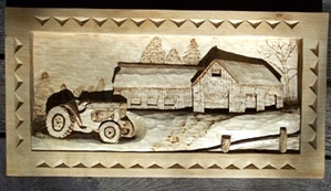 Hand Carved deep relief of tractor and farm