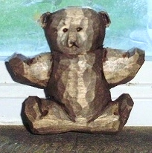 Hand Carved Teddy Bear Ornament
