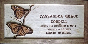 Wood Carving Birth Announcement