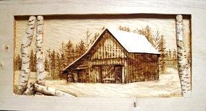 Wood Carved Old Barn with Broken Birch