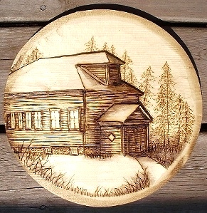 Wood Carvings Medallions with Buildings