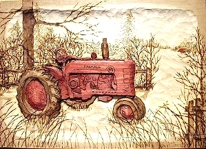 Wood Carving of Farmall Tractor