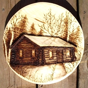 Hand Carved Log Cabin