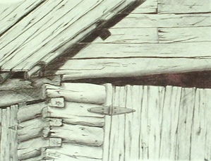 Line Drawings of Old Wood Buildings