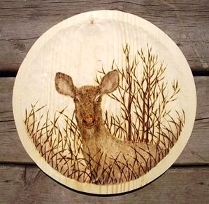 Wood Burned Deer