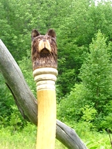 Hand Carved Bear Head Walking Stick