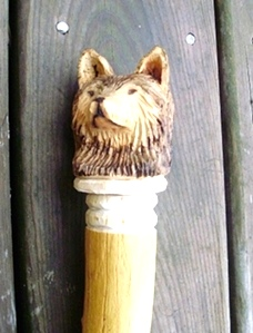 Hand Carved Wolf for Your Walking Stick