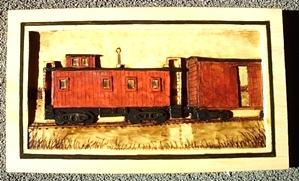 Hand Carved Caboose Relief Carving