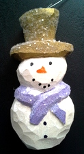 Hand Carved SnowMan Ornaments