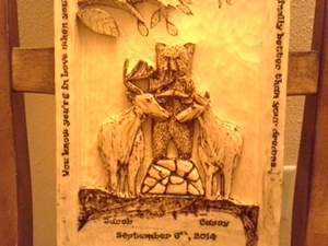 Hand Carved Wedding Plaque