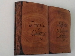 Hand Carved Open Book Plaque