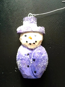 Hand Carved Snowman Ornaments set of 5