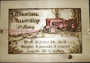 Tractor Birth Plaque