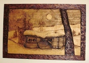 Two Woodcarvings of My Old Shed