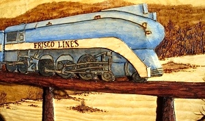 Hand Carved Frisco Locomotive 1026  SOLD