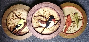 Hand Carved Song Bird Medallions