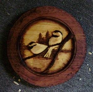 Hand Carved Chickadees