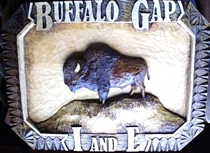 Hand Carved Buffalo Sign SOLD
