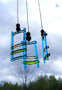 Glass Wind Chimes with Hand Carved Wood