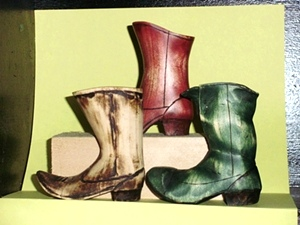 Wood Carved Boots
