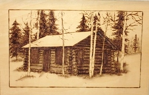 Log Cabin Wood Burning