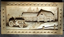 Hand Carved deep relief of tractor and farm SOLD