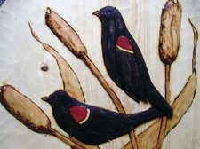 Hand Carved Red Wing Black Birds