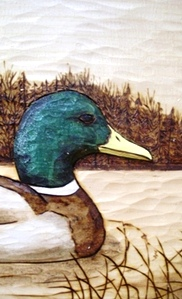 Hand Carved Mallard Relief