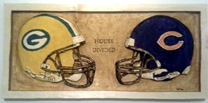 House Divided Greenbay and Chicago Carved Wall Plaque