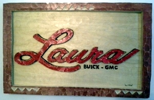 Laura Buick GMC Carved Plaque