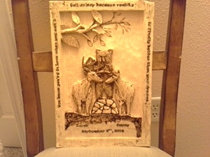 Hand Carved Wedding Plaque