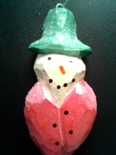 1 Hand Carved Snowman Ornament