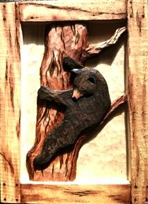 Hand Carved Black Bear Cub