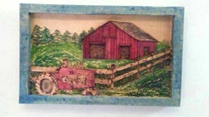 The Old Farm and Tractor | Hand Carved Deep Relief Farm and Tractor