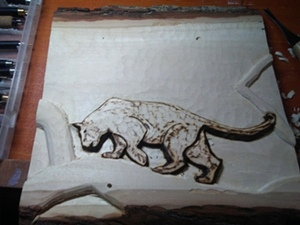 Carved Panther in tree