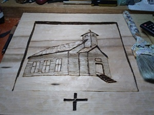 Carving of old church